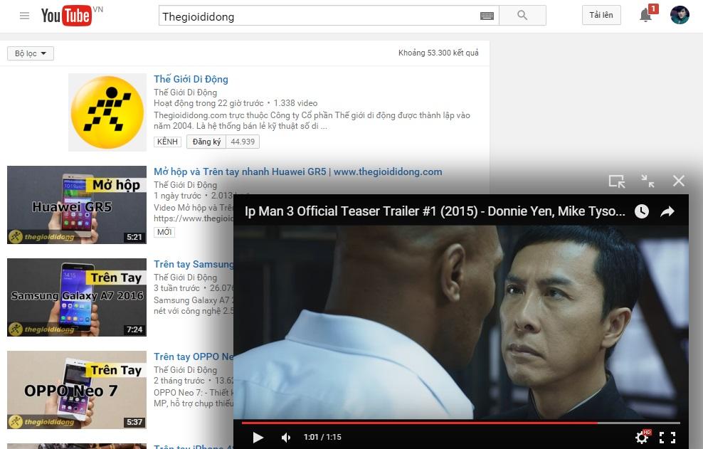 Xem video YouTube theo cách PiP của iOS 9 ngay trên Chrome