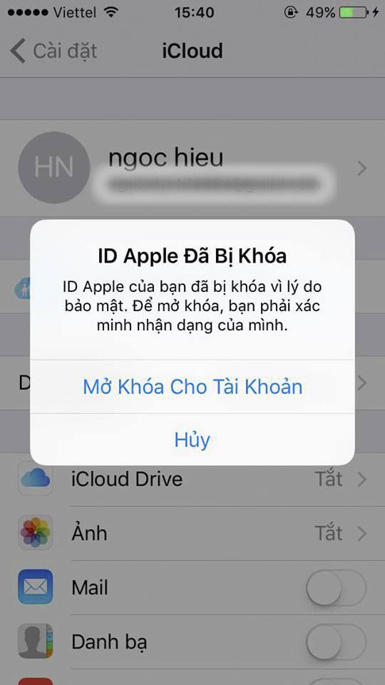 Kết quả hình ảnh cho Tại khoản ID Apple của bạn đã bị khóa vì lý do bảo mật,..