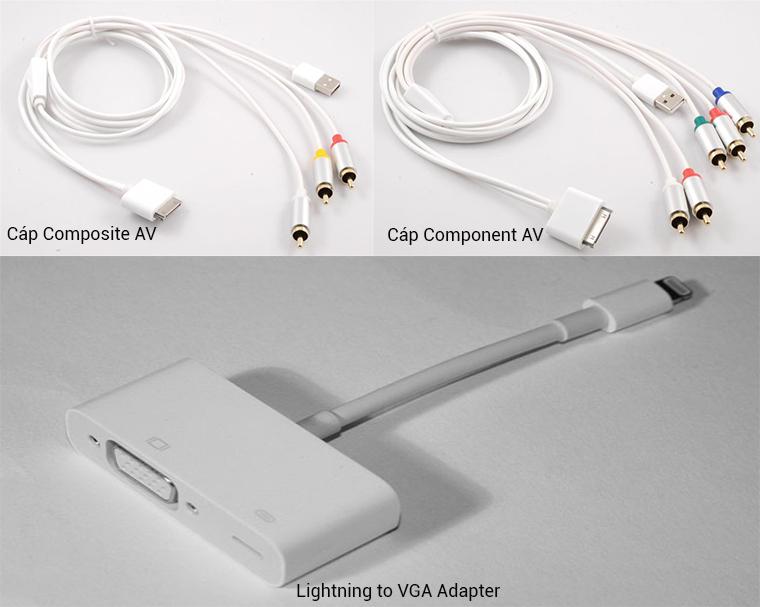 Dây cáp kết nối qua cổng AV, VGA