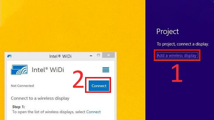 Trên laptop, mở tính năng Wifi Display.