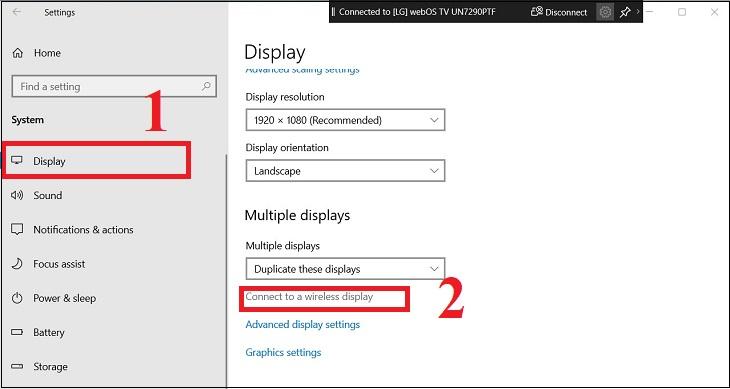 Chọn Display > Nhấn vào mục Connect to a Wireless display (Windows + P).