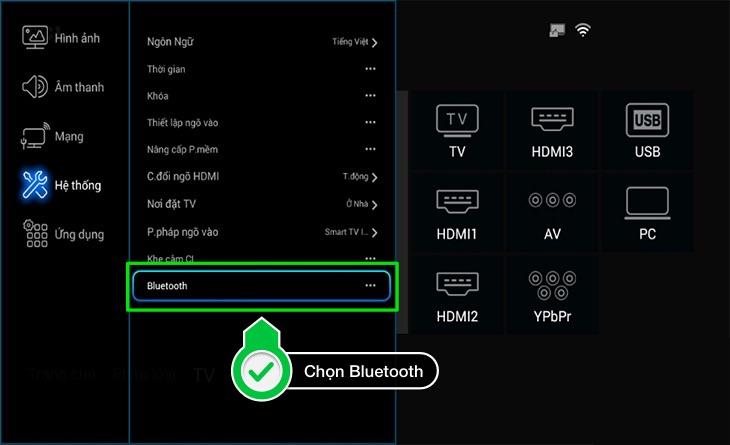 Chọn thiết lập Bluetooth