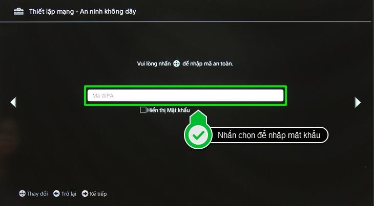 Nhấn chọn để nhập mật khẩu