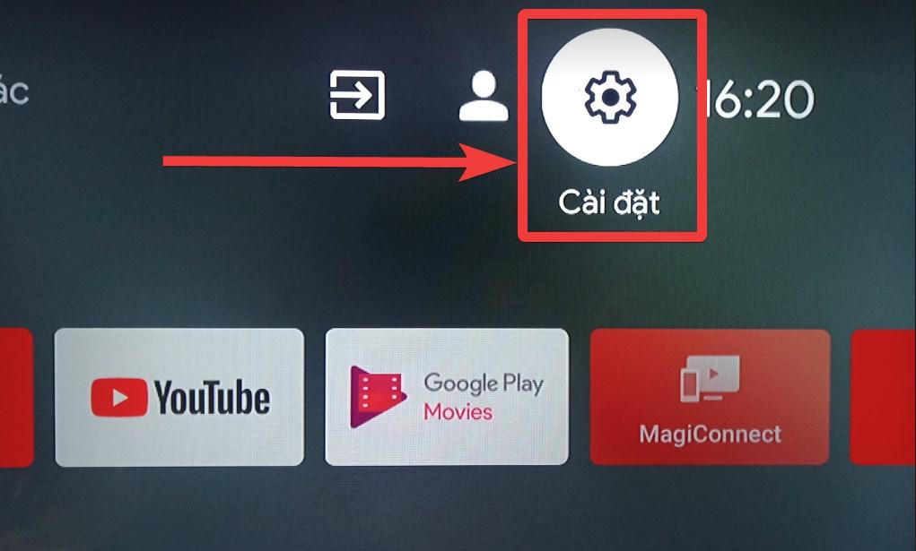 Chọn biểu tượng Cài đặt trên màn hình chính