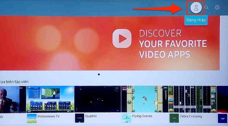 Mục Đăng nhập trên tivi Samsung
