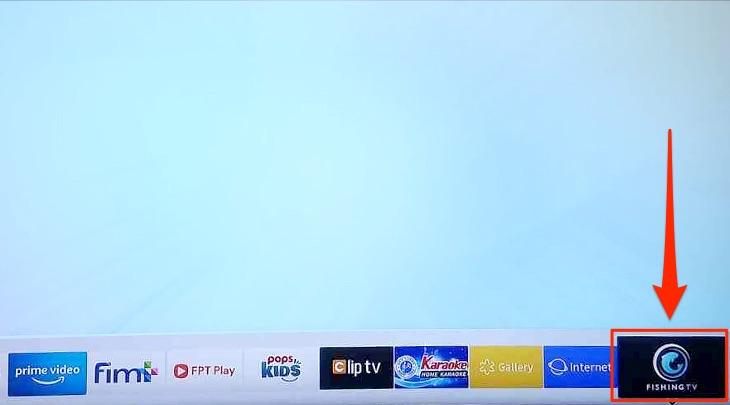 Ứng dụng đã được hiển thị tại giao diện chính của tivi Samsung