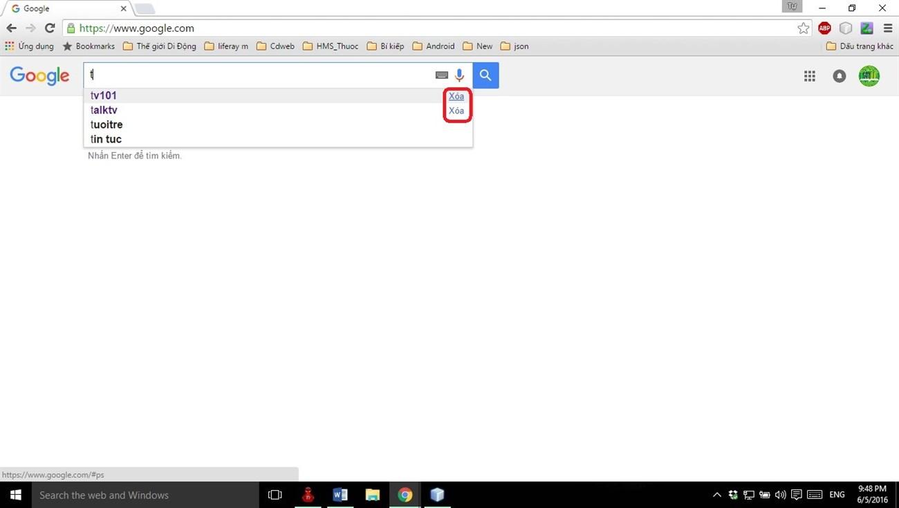 Cách xóa lịch sử tìm kiếm Google