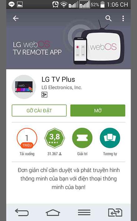 Tải ứng dụng LG TV Plus