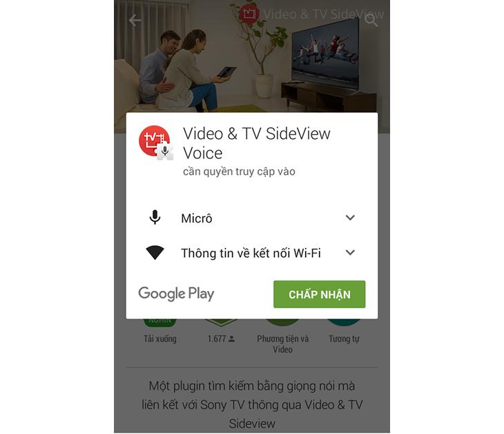 Cài đặt ứng dụng Video & TV SideView Voice