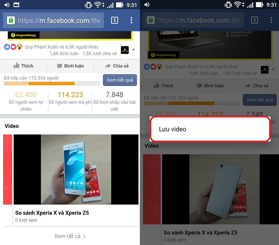 Cách tải video facebook