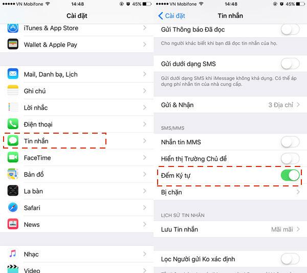 Kích hoạt đếm ký tự SMS để tiết kiệm hơn khi nhắn tin trên iPhone