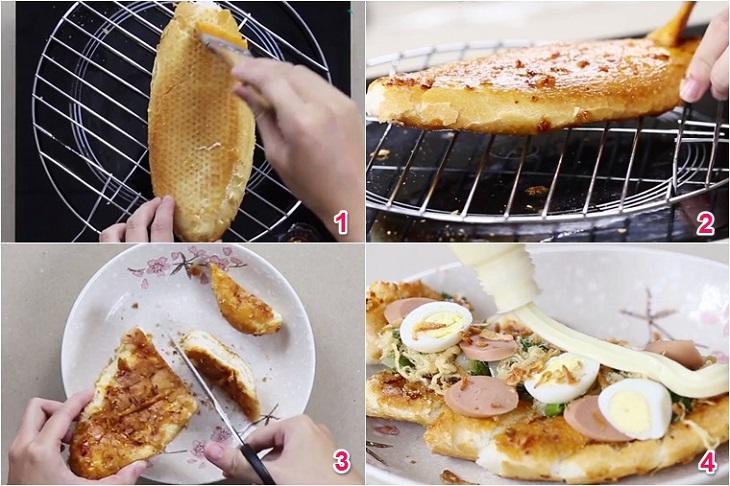 Bước 2 Làm bánh mì nướng Bánh mì nướng muối ớt