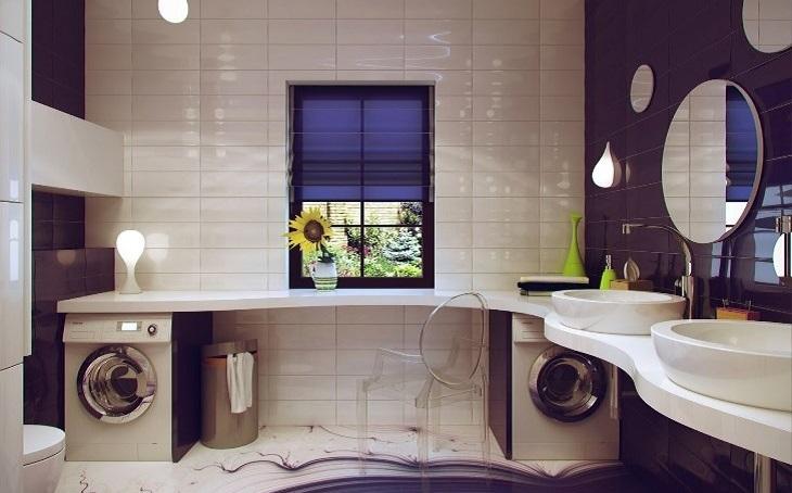 Đặt máy giặt xa nguồn nước và nguồn điện trong phòng tắm