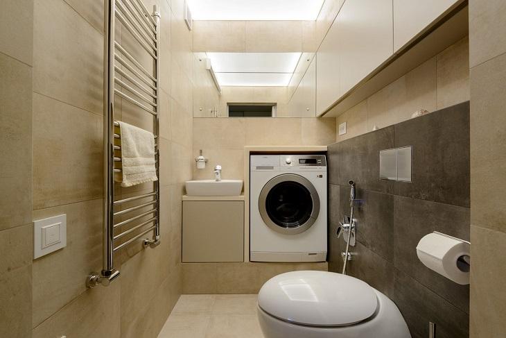 Có nên máy giặt trong phòng tắm không??