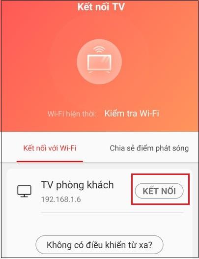 Mở ứng dụng T-cast MagiConnect TCL rồi chọn tivi kết nối