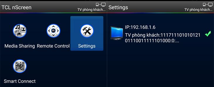 Chọn Settings rồi chọn tivi kết nối