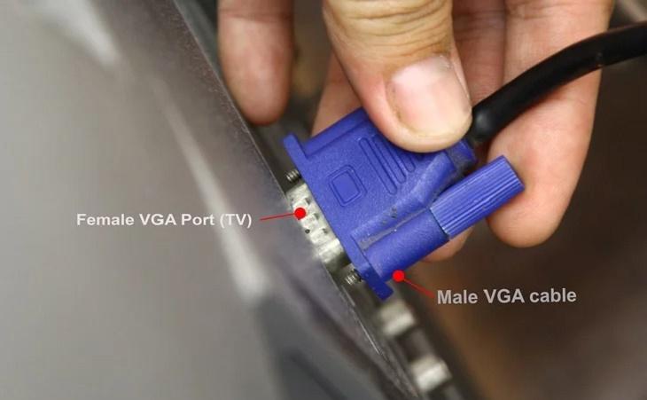 Cắm đầu cáp VGA (male) vào cổng VGA (female) màu xanh dương trên TV