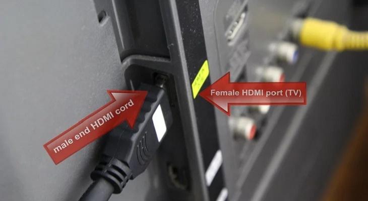 Kết nối đầu chuyển đổi của dây HDMI (male) với cổng HDMI (female) trên TV
