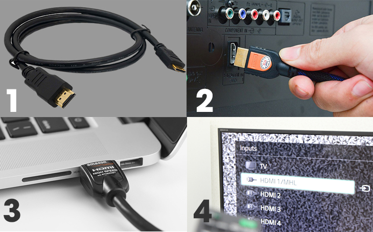 Kết nối MacBook và tivi bằng cáp HDMI