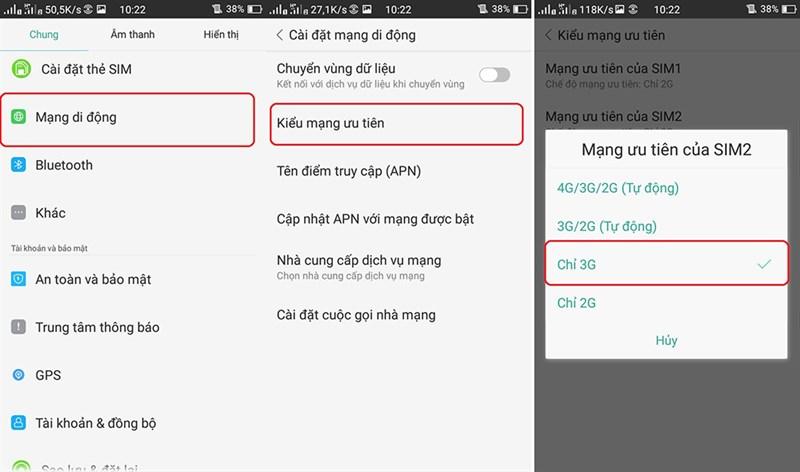 Vào mạng 3G chậm, không hiển thị H+ hoặc 3G