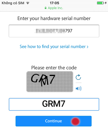 Enter your hardware seial number