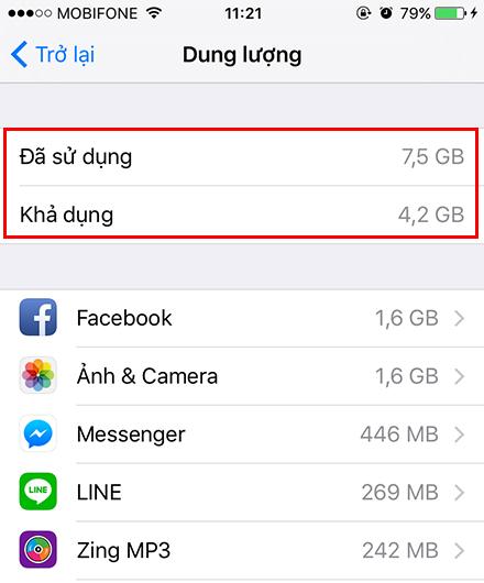 dung lượng còn trống của 1 chiếc iPhone 6 phiên bản 16 GB