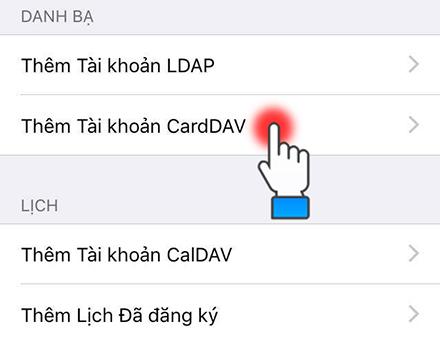 Chọn Thêm tài khoản CardDAV