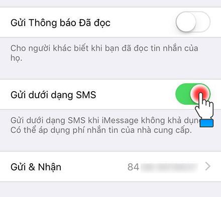 Gửi dưới dạng SMS