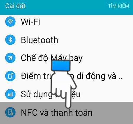 Chọn NFC và thanh toán