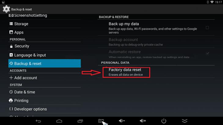 Reset Android tivi box