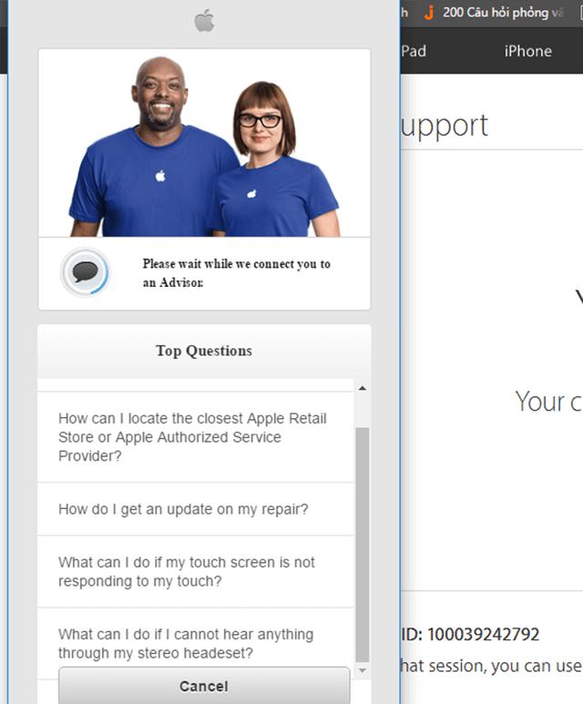 Bạn sẽ phải chờ ít phút để có nhân viên Apple hỗ trợ bạn
