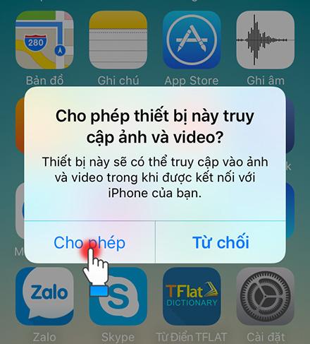 Chọn cho phép trên iPhone