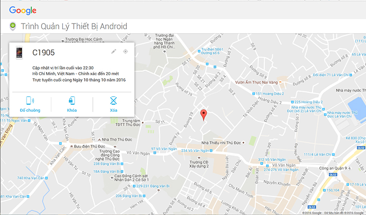 Thông tin điện thoại và vị trí điện thoại sẽ được hiện trên bản đồ