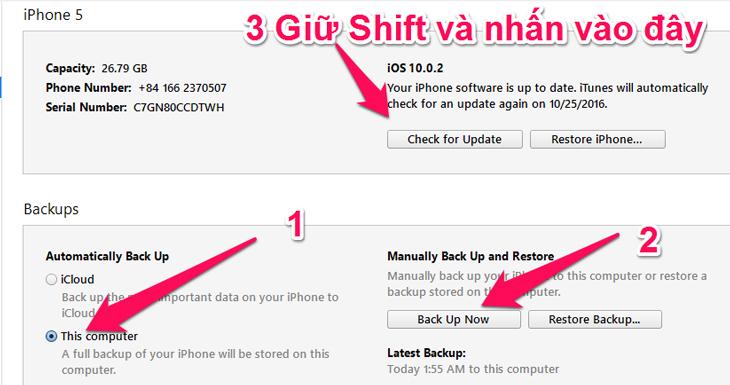 Backup sau đó hạ cấp xuống iOS 9 - Hướng dẫn hạ cấp iOS 10 xuống iOS 9