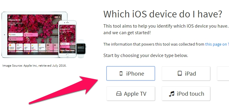 Chọn thiết bị iPhone, iPad hoặc iPod Touch - Hạ cấp iOS 10 xuống iOS 9
