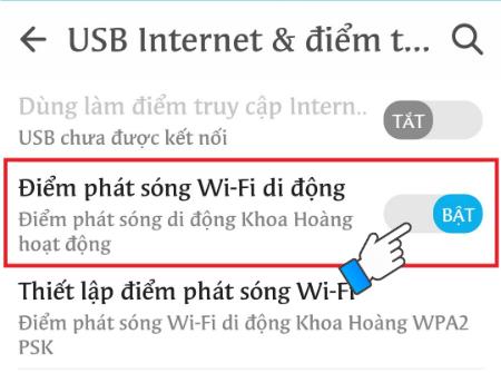 Bật wifi đã thiết lập