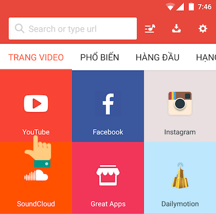 Chọn youtube trong ứng dụng snaptube