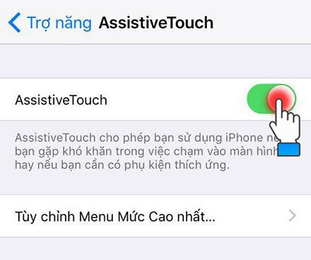 Kích hoạt tính năng Assistive Touch như hình