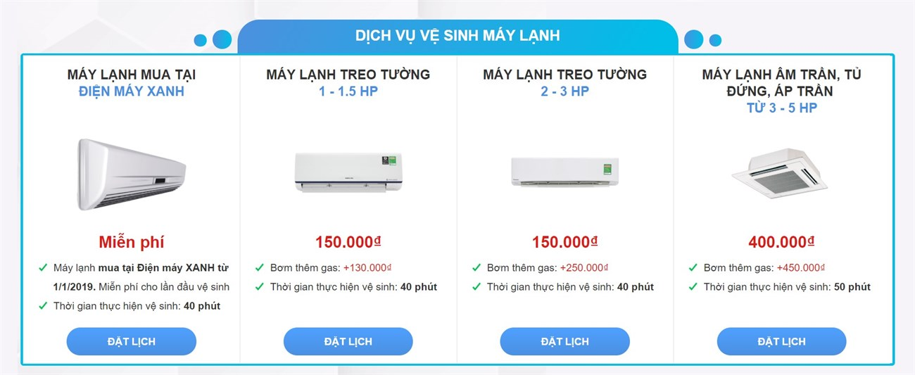 Báng giá vệ sinh và thay gas máy lạnh tại Điện máy XANH