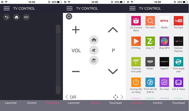 Giao diện ứng dụng điều khiển tivi
