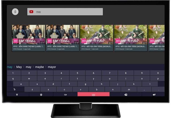 YouTube sẽ yêu cầu bạn nhập bằng bàn phím ảo của tivi