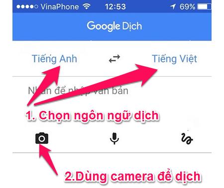 Chọn ngôn ngữ dịch và nhấn vào biểu tượng camera