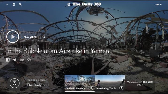 Format hoàn toàn mới trên tờ New York times khi sử dụng video 360 độ