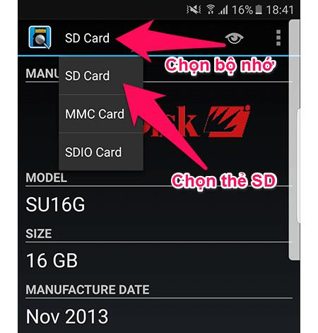 Chọn SD card