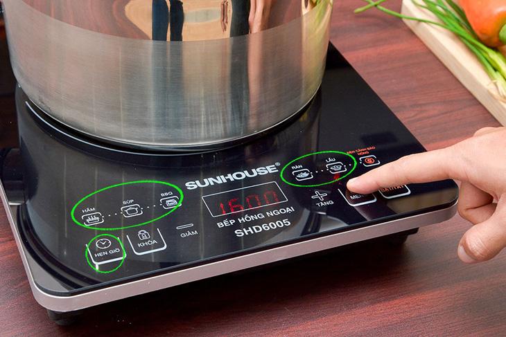 Bếp hồng ngoại hỗ trợ nấu nướng tích cực hơn từ các tiện ích và thực đơn nấu kèm thêm