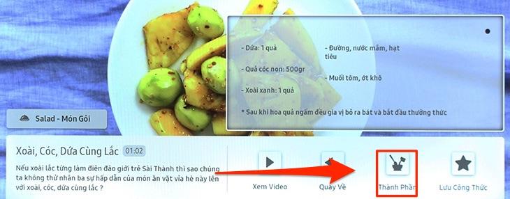Chọn vào mục Thành phần để xem bạn cần những nguyên liệu nào cho món ăn