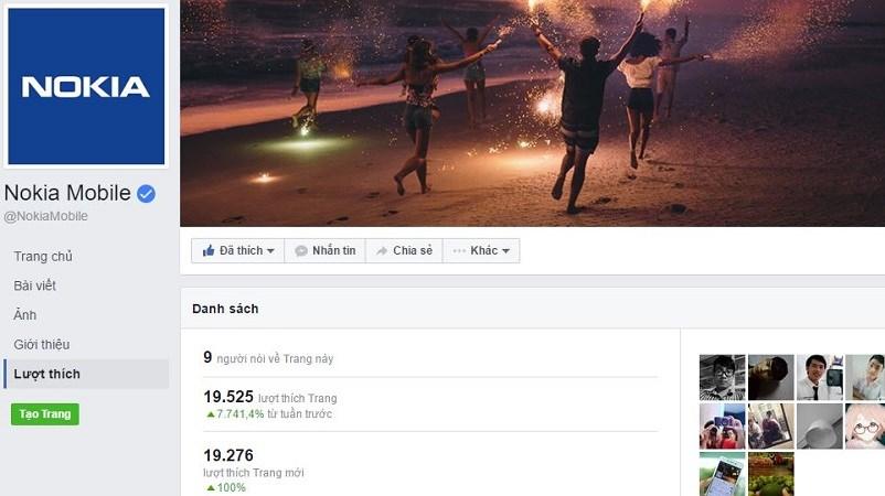 Chỉ khoảng 20 tiếng, fanpage Nokia Mobile đạt gần 20 ngàn lượt thích