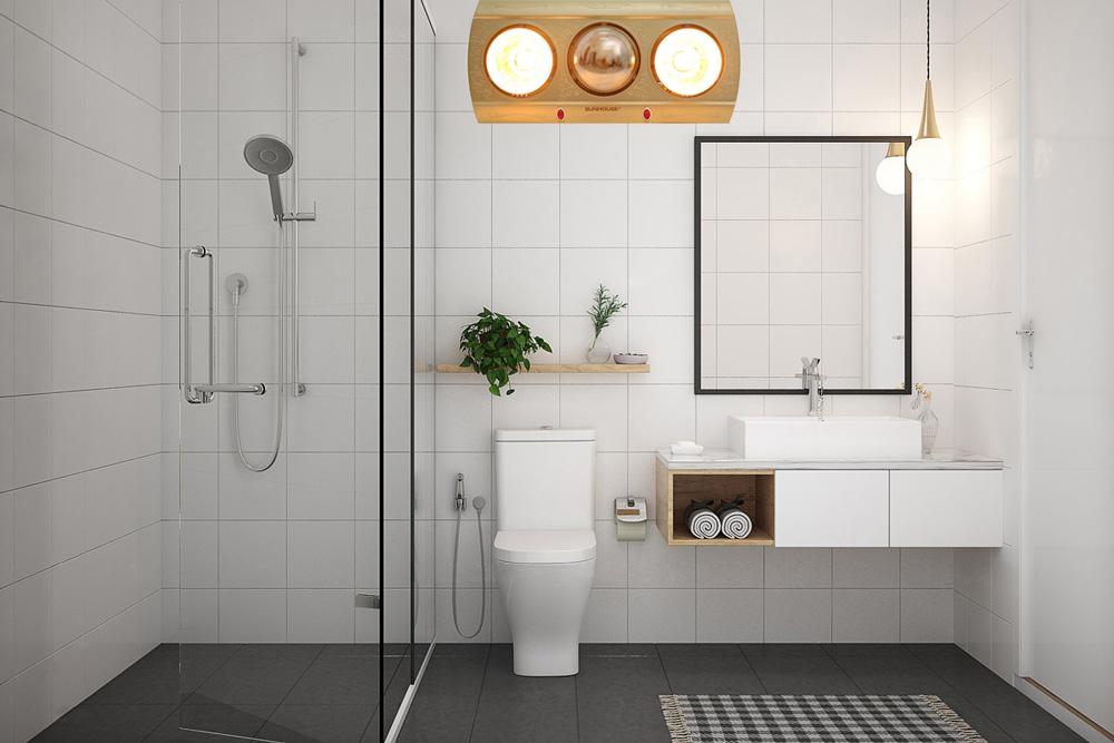 Đèn sưởi giữ cho nhiệt độ phòng tắm luôn ấm áp