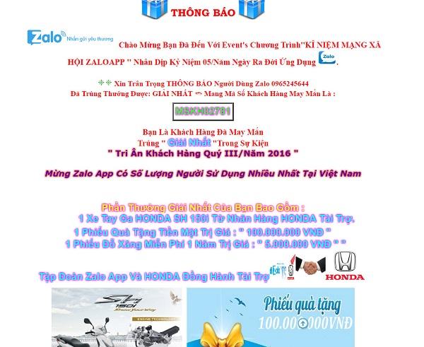 trang web mạo danh Zalo