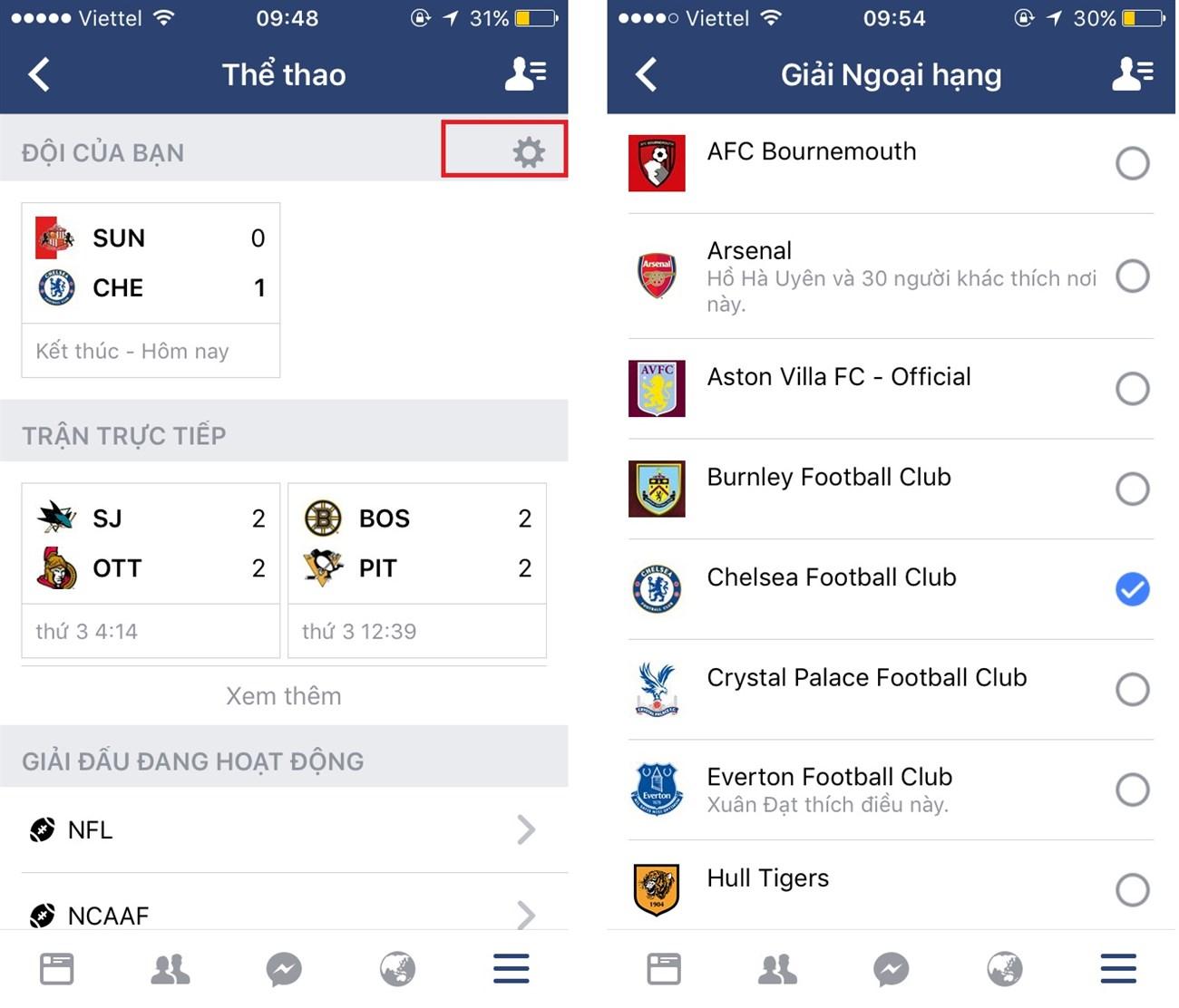 Cập nhật kết quả bóng đá ngay trên Facebook